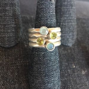 Stacking peridot and Chalcedony Ring Set